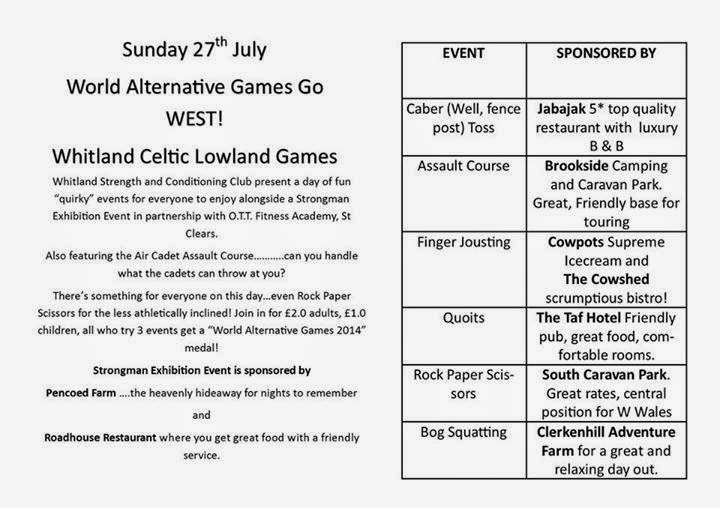 Details of the World Alternative Games Go West event taking place in Whitland on the 27th of July 2014