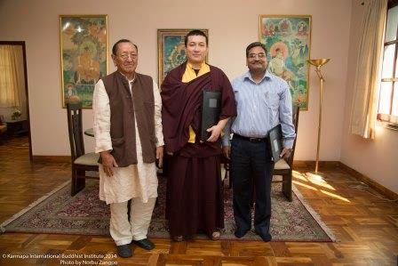 Group picture of Gyalwa Karmapa, Prof. Sempa Dorje and Mr. Ashok Kumar Gadiya