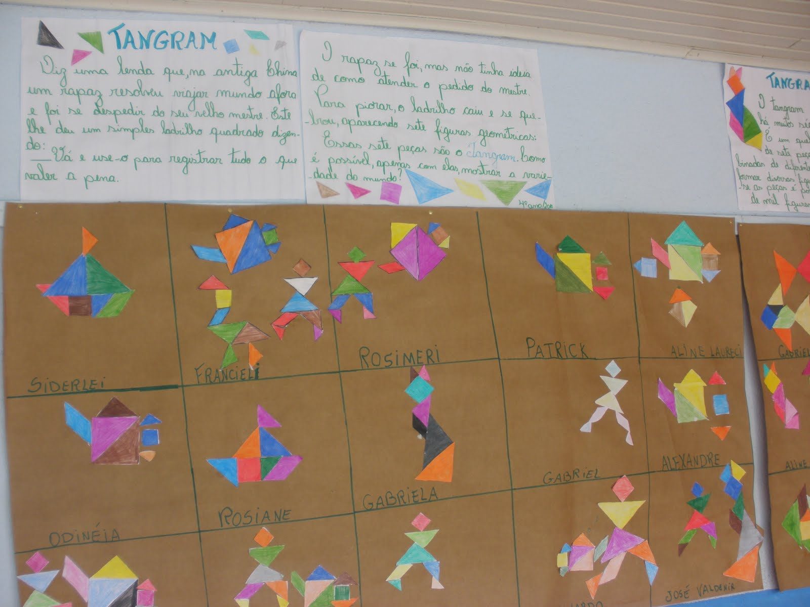 Espa o educar atividades com o tangram for Mural de fotos 1 ano