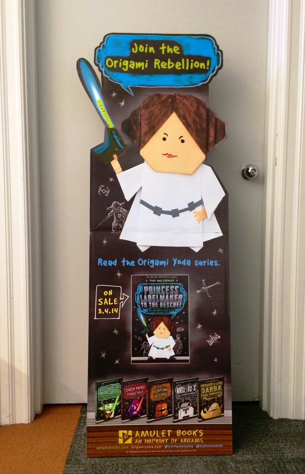 Young adult books what were reading now origami yoda giveaway your students will love this attention grabbing standee of the latest title in the origami yoda series jeuxipadfo Images