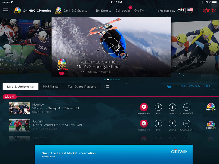 NBC Sports Live Extra Main Game App