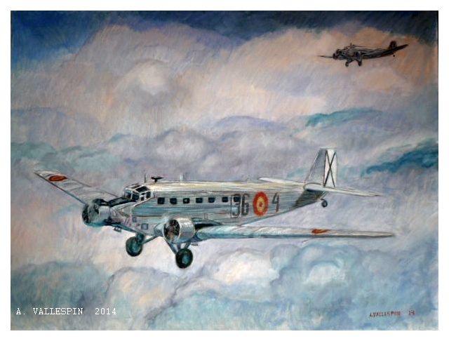 Oleo sobre lienzo de un avión Junker Ju 52 volando