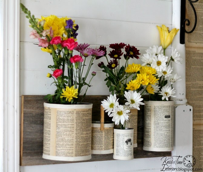 Recycled Crafts Repurposed Tin Can Organizer Wall Bins - KnickofTime.net