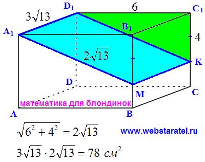 Прямоугольный параллелепипед. Решение задачи для другой секущей плоскости. Математика для блондинок.