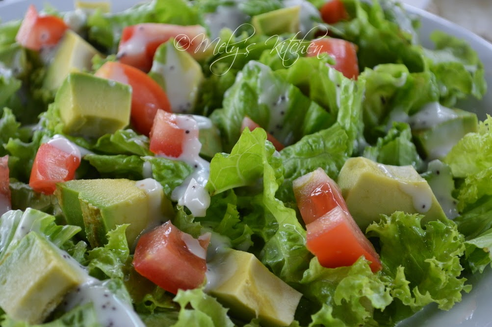 healthy salad tossed with poppy seed salad dressing, a perfect start ...