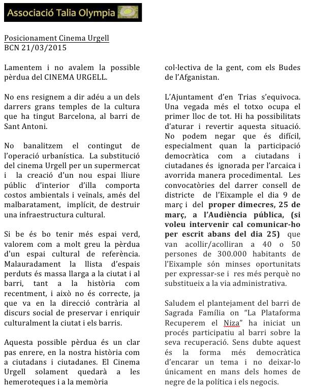 Posicionament Urgell