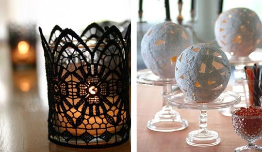 BLACK White Lace halloween lantern wedding ideas