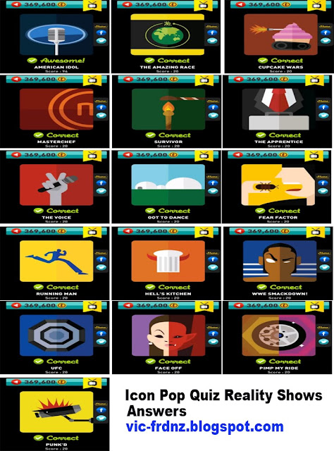 Icon Pop Quiz Reality Shows Answers.