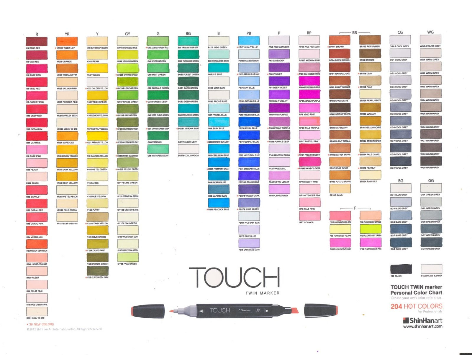 Dina kowal creative touch marker color charts touch marker color charts nvjuhfo Image collections