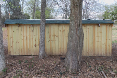 privacy fence panels used as the back of the goat shelter