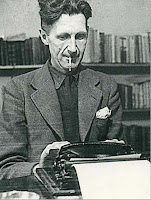 George Orwell on a typewriter