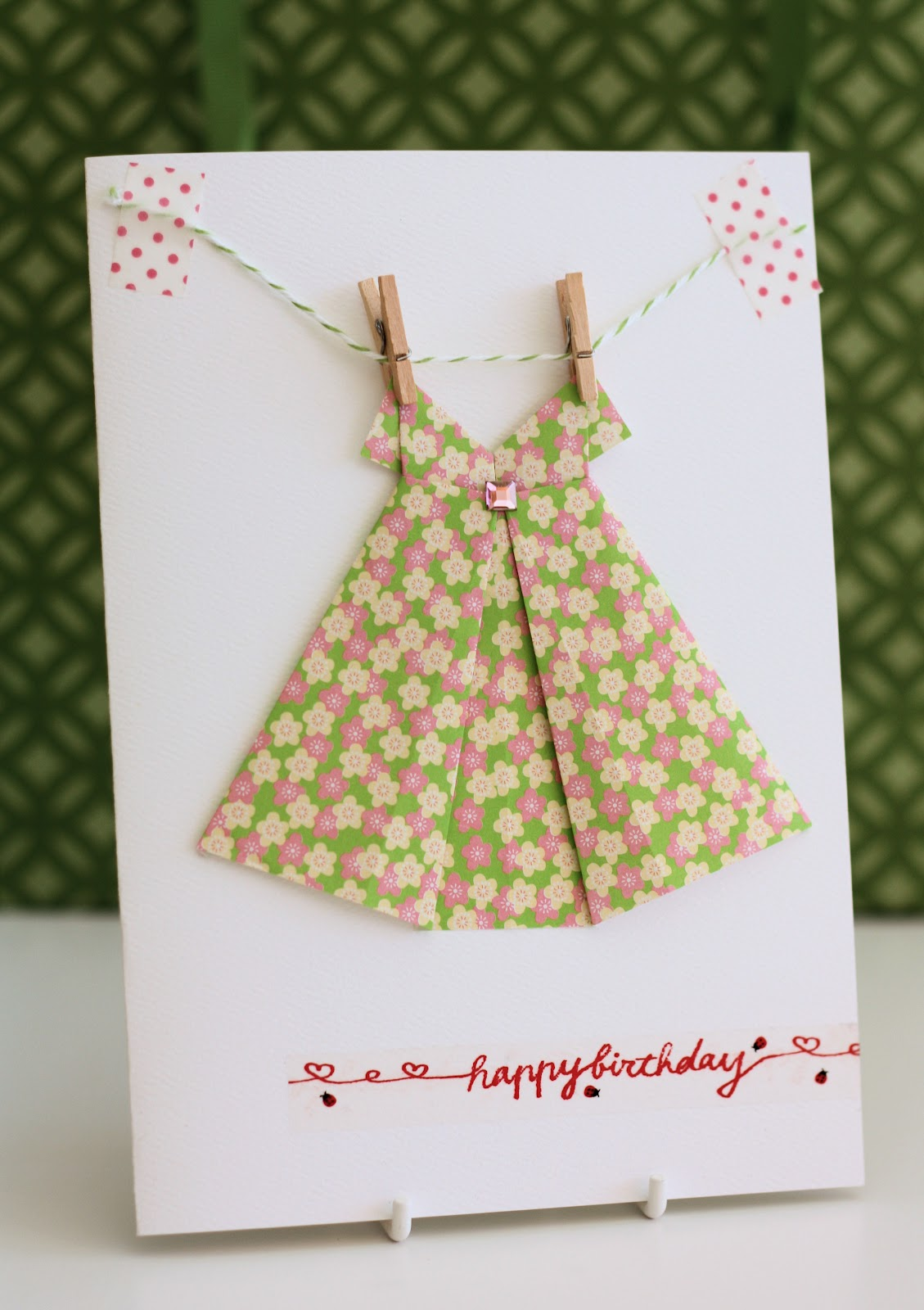 Origami dress card a spoonful of sugar to make an origami dress card for a special friends birthday there is a helpful utube video that guides you through the steps on folding the dress jeuxipadfo Choice Image