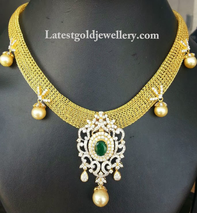 gold mesh necklace with diamond pendant