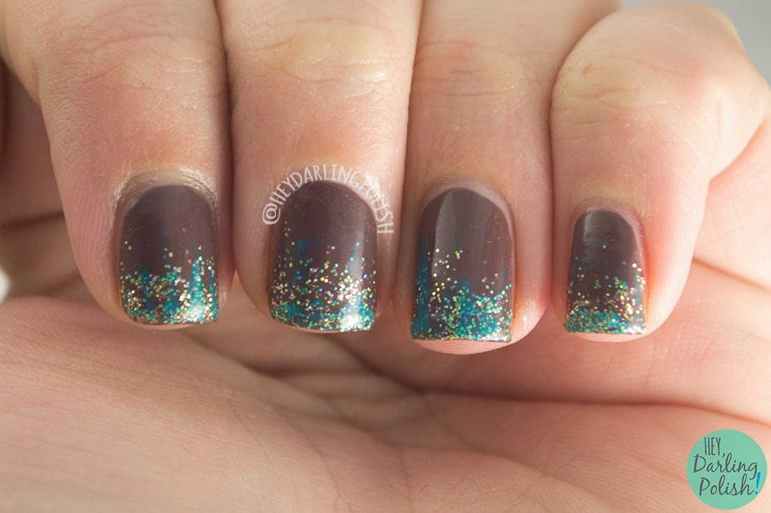 nails, nail art, nail polish, hey darling polish, gradient, glitter gradient, oh mon dieu part deux,