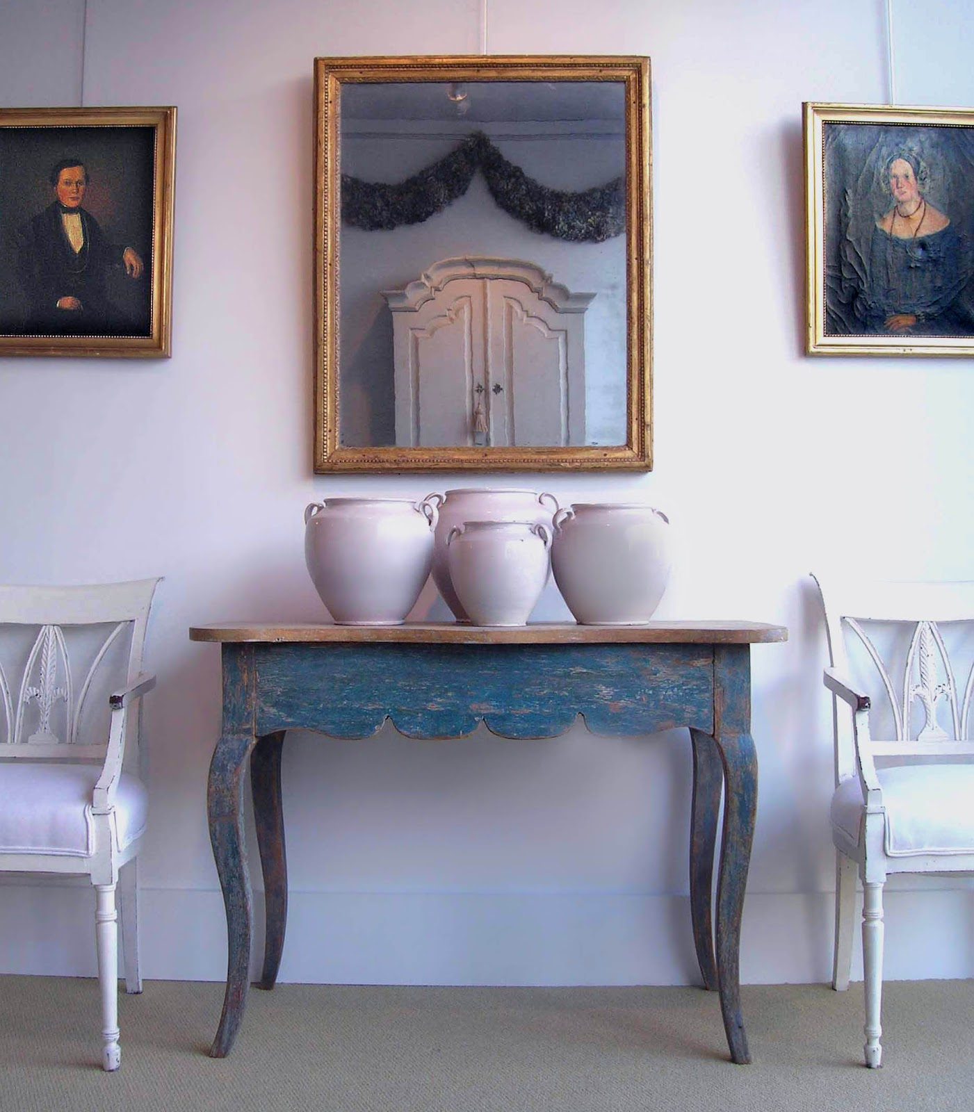 Group of French white pots with Swedish antique furniture. - Tone On Tone: White Ironstone China