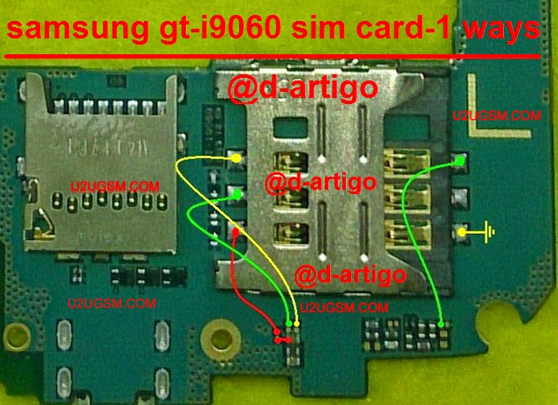 Samsung Grand Neo I9060 Sim 1 Full Ways Jumpers Diagram