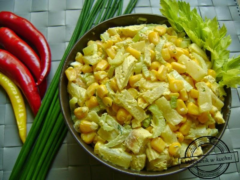 Sałatka z selera naciowego z curry mechanik w kuchni