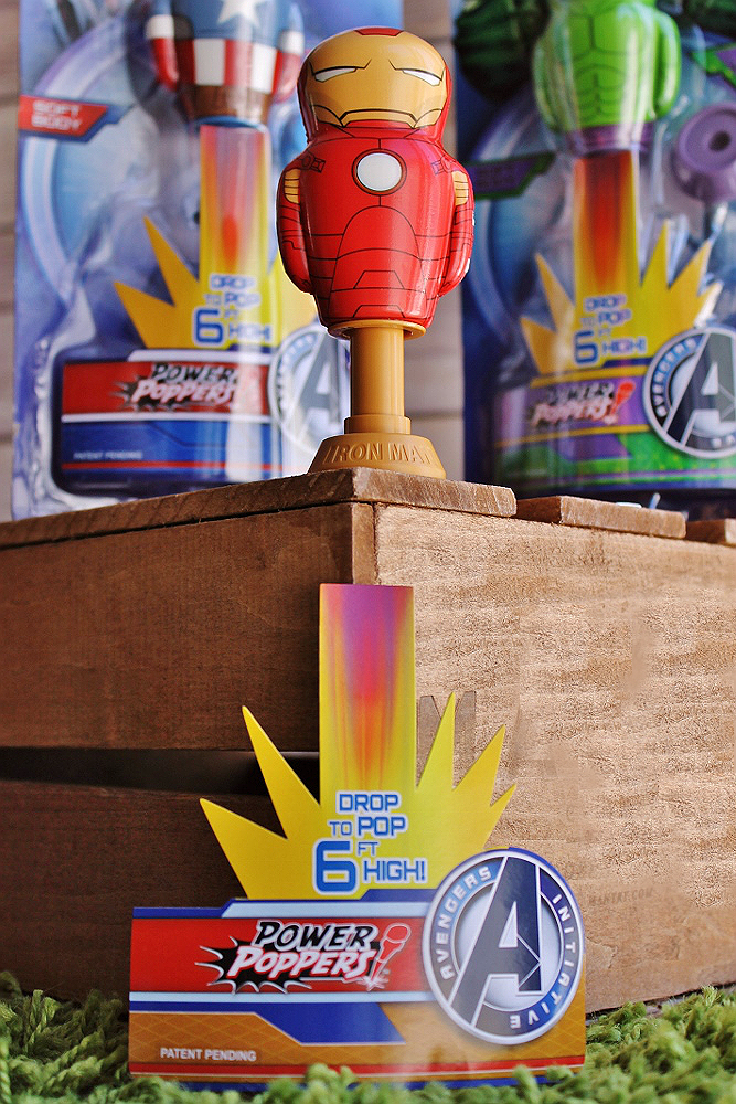 MARVEL Power Poppers are made of a compressed foam body that's extra light and soft, with a self propelled (battery free) operation that sends them flying up to 6 feet in the air!