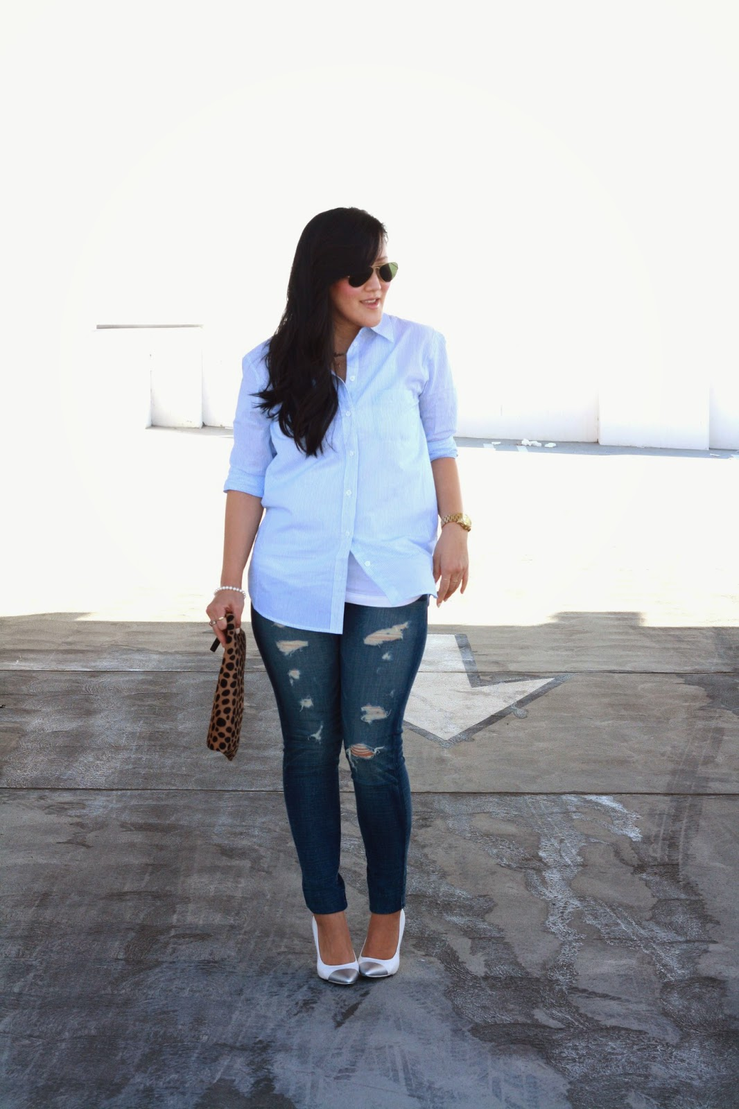 simplyxclassic, equipment top, american eagle denim, clare vivier clutch, leopard clutch, ray ban, ootd, blogger, style blogger, orange county, southern california