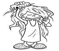 inglés para niños combing her hair