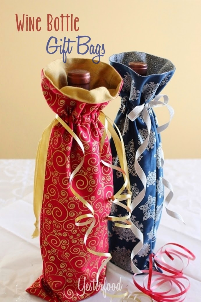 Wine bottle gift bags by Yesterfood