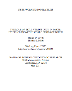 teven Levitt and Thomas Miles' 'The Role of Skill Versus Luck in Poker: Evidence from the World Series of Poker' (May 2011)