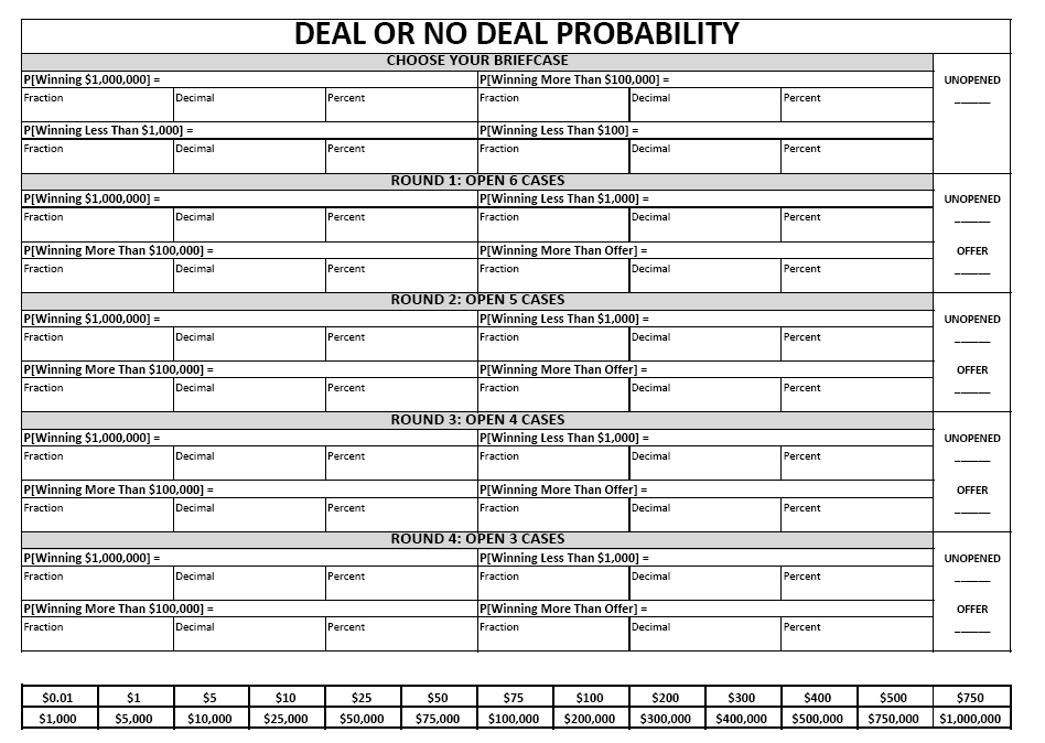 Math = Love: Teaching Probability with Deal or No Deal...