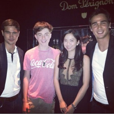 Greyson Chance hanging out with celebs at the Smart Music Party