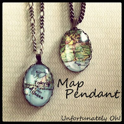 Unfortunately oh map pendants using sections of the maps i put together these simple pendants aloadofball Images