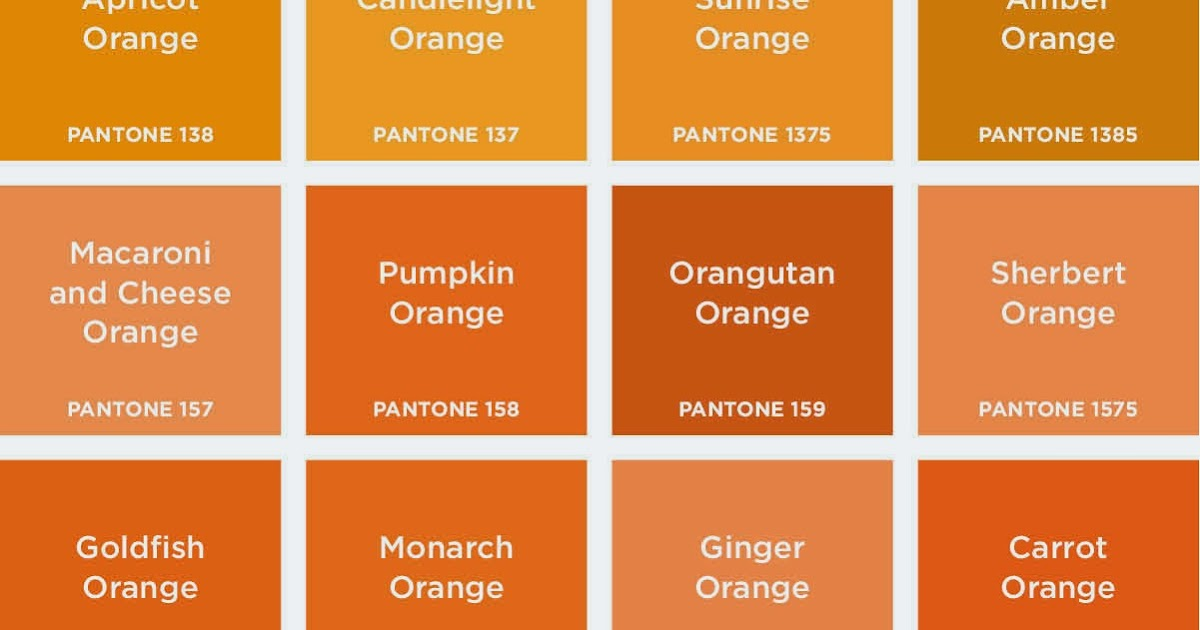 Burnt orange color palette bing images Shades of orange colour chart