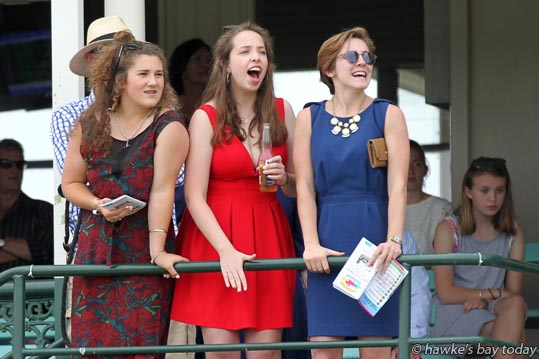 L-R: Madeline Snell, Napier, Sam Mactaggart, Havelock North, Ivy Donley, Pulaski, Tennessee, USA, cheering on their favoured horse in Race 7 - fashion at the Interislander Summer Festival Summer Races, at Hawke's Bay Racing, Hawke's Bay Racecourse, Hastings. photograph