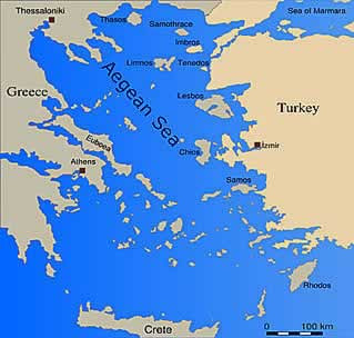 Printable map of Aegean Sea