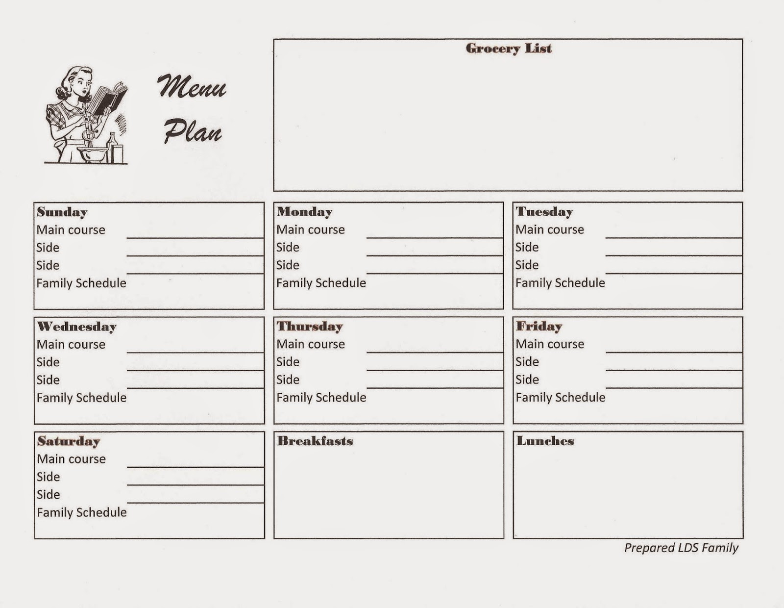 Prepared lds family 6 steps to food storage menu planning this week i created a free menu plan printable to get me more organized when i dont plan we tend to eat out more or im in the grocery store several forumfinder Choice Image