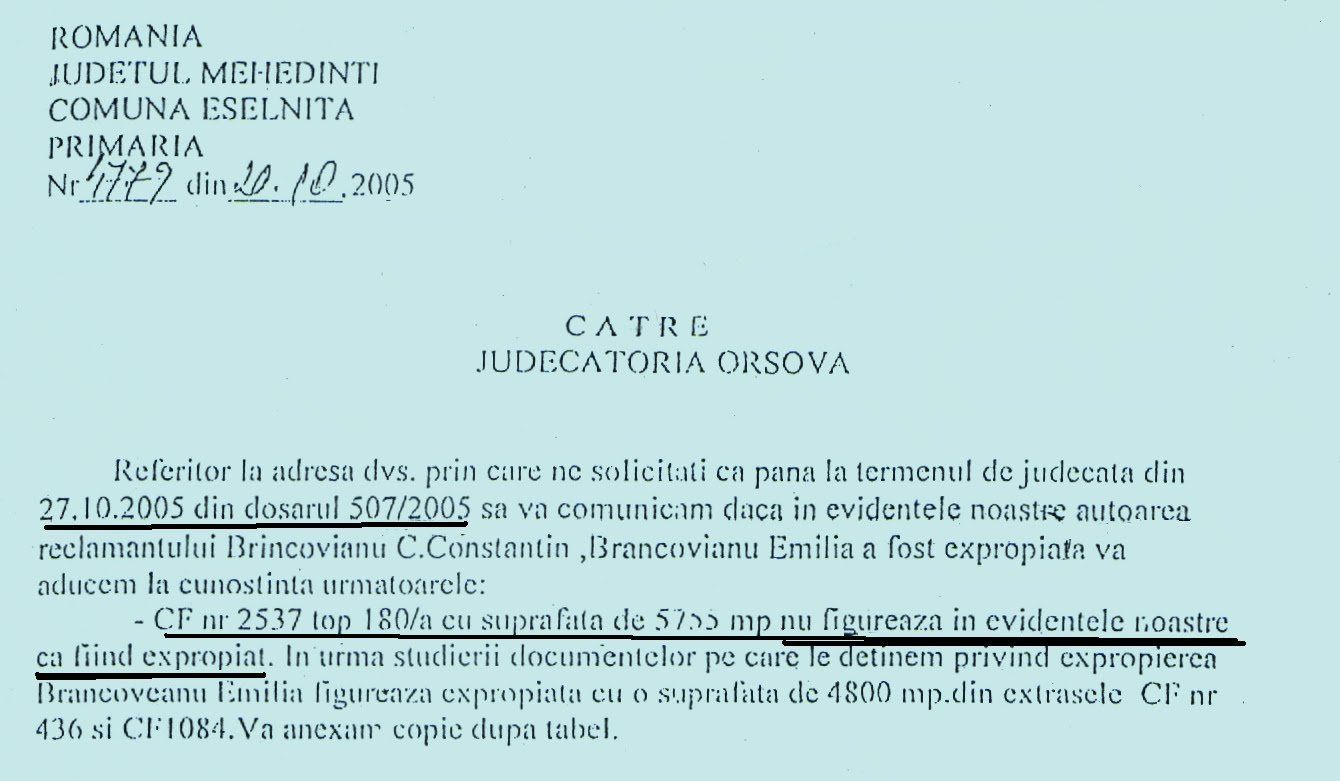 Primaria Eselnita catre Judecatoria Orsova