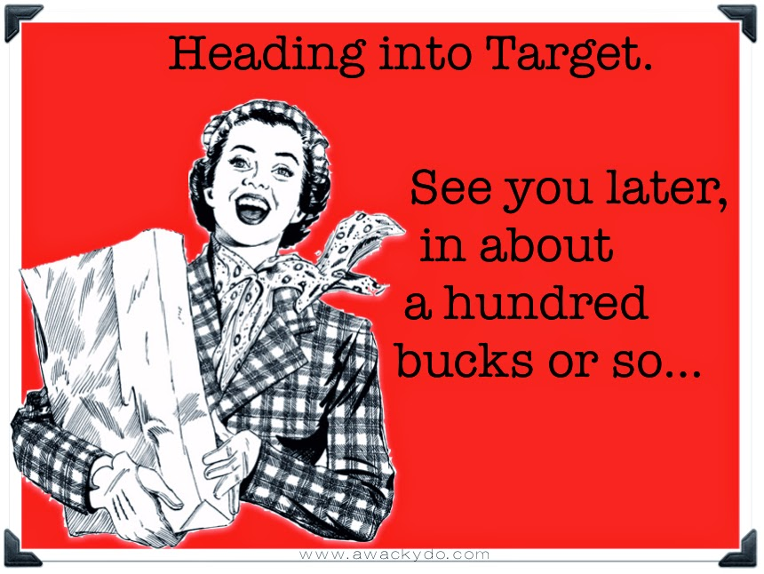 Heading to Target.  See you in about a hundred bucks or so. Vintage lady holding a shopping bag. #target #shopping