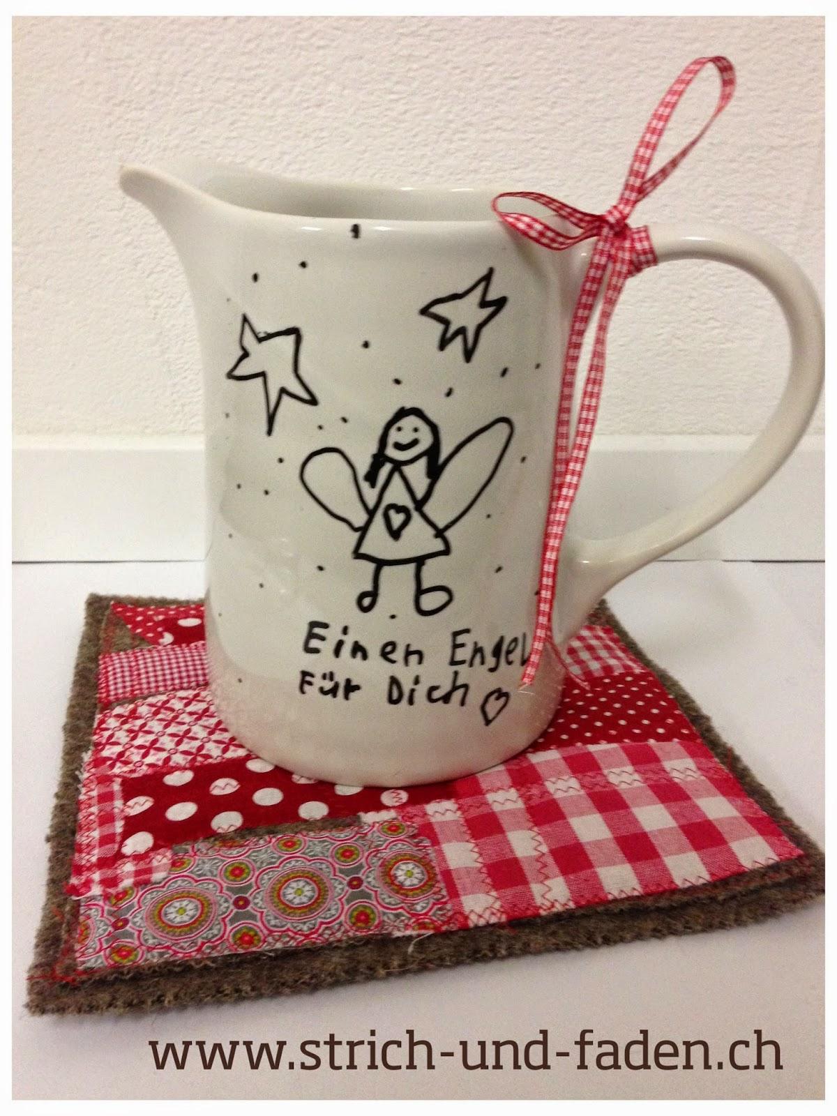 mit Strich und Faden | Basteln mit Kindern für Weihnachten Topfuntersetzer mit Teekrug
