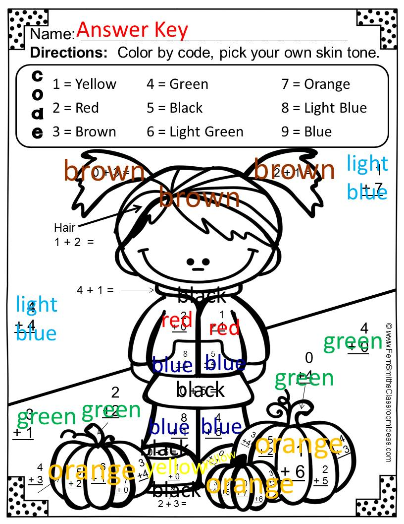 Fern Smith's Classroom Ideas Freebie Friday ~ FREE Fall Fun! Basic Addition Facts - Color Your Answers Printable Sample