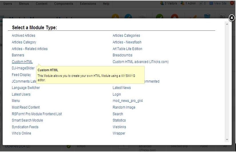 Jasa Seo Joomla, Tutorial membuat module custom HTML di joomla
