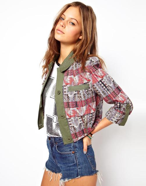 pattern blocked jacket