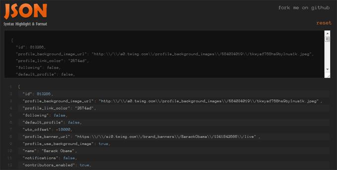 JSON Syntax Highlighting
