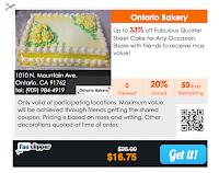 Ontario Bakery quarter sheet cake coupon special