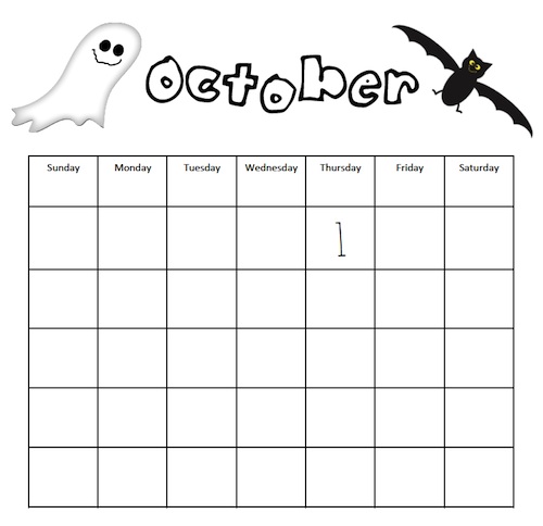 Black and white, blank October calendar with a ghost and bat. By GradeONEderful.com