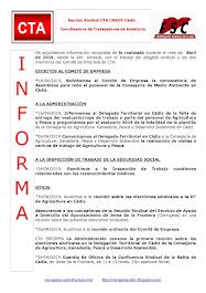 C.T.A. INFORMA, LO REALIZADO EN ABRIL DE 2019