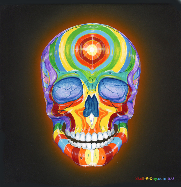 i know it might be hard to believe the title but ron boyer has done a beautiful job of filling his skull full of color and life