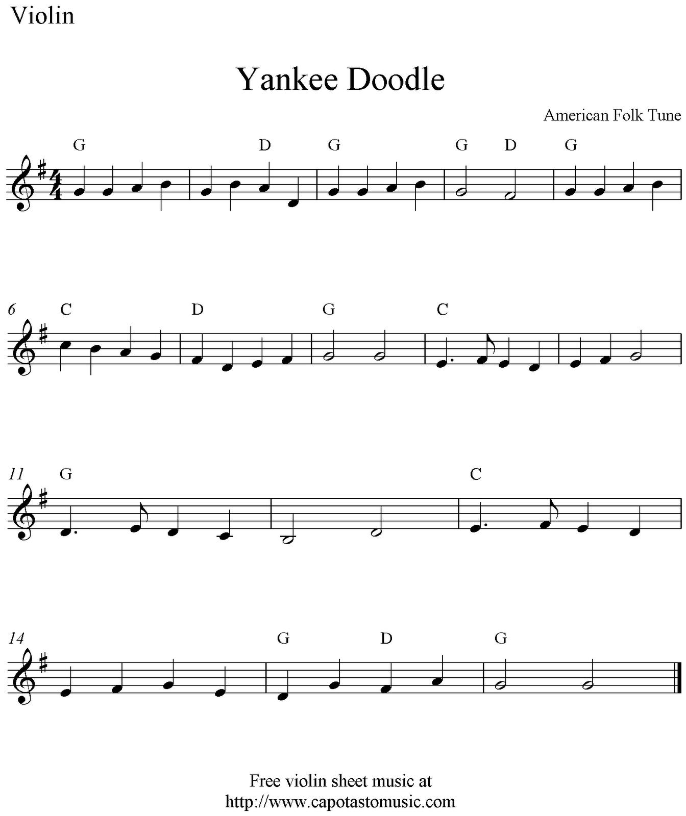 Yankee Doodle Dandy Sheet Music Yankee Doodle, free vi...