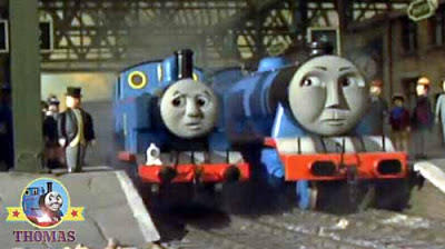Large blue express engine Gordon and Thomas train fireworks Knapford station platform Sir Topham Hatt
