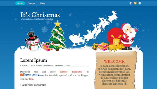Blogger Template, It's Christmas Blogger Template, Christmas Template