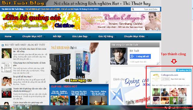 Cách chèn khung Like Fanpage ở góc phải - góc trái màn hình