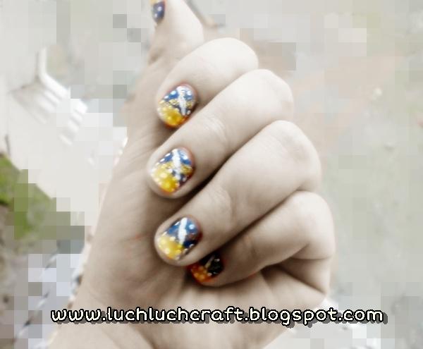polkadot neon nail art