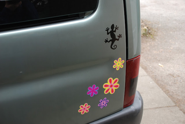 image of flower stickers on car
